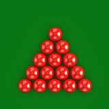 rote Bälle des Snookers 3d bereit zum Bruch Stockbild