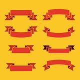 Rote Bänder für Aufschrift und Beschriftung auf gelbem Hintergrund stock abbildung