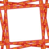 Rote Bänder herum mit gelbem Beschriftungsverkauf und -streifen, die Verkaufsplatz auf einem weißen Hintergrund anzeigen Warnen u vektor abbildung
