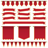 Rote Bänder und Fahnen Stockfotografie