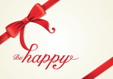 Rote Bänder und Grußkarte, Bögen, glücklich Lizenzfreie Stockfotos