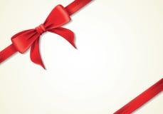 Rote Bänder und Grußkarte, Bögen, neues Jahr, Geschenkbox Lizenzfreies Stockbild