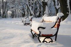 Rote Bänke im Schnee lizenzfreie stockbilder