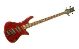 Rote Baß-Gitarre gegen Weiß Lizenzfreie Stockbilder