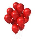 Rote Ballongruppe getrennt auf Weiß Lizenzfreies Stockbild