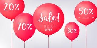 Rote Baloons-Rabatte Verkaufskonzeptikonen für Shop, Einzelhandel Modegeburtstags-Vektorillustration Baloon-Verkaufsplakat Lizenzfreie Stockfotos