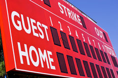 Rote Baseball-Anzeigetafel stockfotos