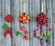 Rote Beeren in den kupfernen Töpfen auf rustikalem verwittertem hölzernem Hintergrund Sommergeschenk- und -erntekonzept Collage v lizenzfreies stockbild