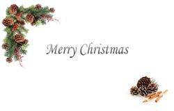 Rote Beeren der Weihnachtshintergrundtagkiefern-Kegel und verschalt durch festliche Girlande Lizenzfreie Stockfotos