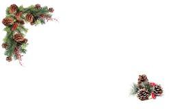 Rote Beeren der Weihnachtshintergrundtagkiefern-Kegel und verschalt durch festliche Girlande Lizenzfreies Stockbild