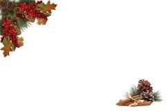 Rote Beeren der Weihnachtshintergrundtagkiefern-Kegel und verschalt durch festliche Girlande Stockfotografie