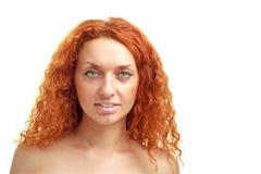 Rote behaarte Frau mit copyspace Lizenzfreies Stockbild