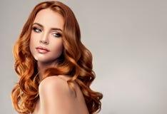 Rote behaarte Frau mit umfangreicher, glänzender und gelockter Frisur Attraktive junge Dame mit Kamm auf einem grauen Hintergrund lizenzfreie stockfotografie