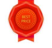 Rote beste Preis-Band-Rosette Stockfotos
