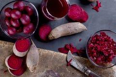 Rote-Bete-Wurzeln Produkte Stockbild