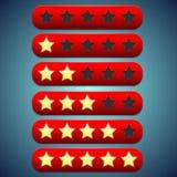 Rote Bewertung der Symbolleiste, Sterne vertieft für sie Stockbilder