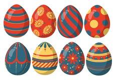 Rote, blaue und goldene glänzende Sammlungsmischung Colorfull von Ostereiern mit verschiedenen schönen Mustern stock abbildung