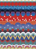 Rote blaue weiße Knickente des japanischen Stammes- Vektormusters vektor abbildung