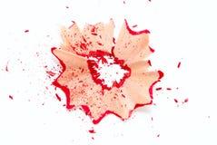Rote Bleistiftschnitzel Stockbilder