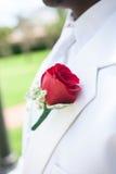 Rote Blume auf Revers des Bräutigams Lizenzfreies Stockfoto