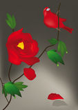 Rote Blume und Vogel Lizenzfreie Stockbilder