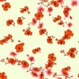 Rote Blumen des nahtlosen Musteraquarells auf einem gelben Hintergrund Lizenzfreies Stockfoto