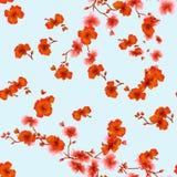 Rote Blumen des nahtlosen Musteraquarells auf einem hellblauen Hintergrund Lizenzfreies Stockfoto