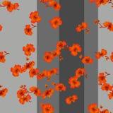 Rote Blumen des nahtlosen Musters des Aquarells auf einem grauen Hintergrund Lizenzfreie Stockfotos