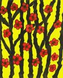 Rote Blumen, malend Stockfotografie