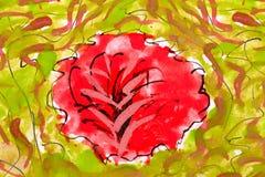 Rote Blumen. wetercolor Zeichnung stockfotografie