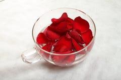Rote Blumenblätter in der Schüssel Stockfotografie