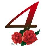 Rote Blumenillustration der Nr. 4 lizenzfreie stockbilder