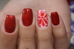Rote Blumennägel des Maniküredesigns lizenzfreie stockbilder