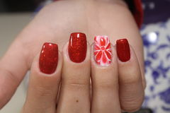 Rote Blumennägel des Maniküredesigns stockbild