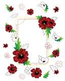 Rote Blumenrahmenzusammensetzung Lizenzfreie Stockfotografie