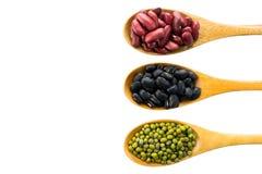 Rote Bohnen, schwärzen gemusterte Erbsen und grüne Bohnen Stockbild