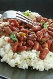 Rote Bohnen und Reis Stockfotografie