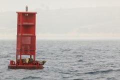 Rote Boje mit Seelöwefamilie Lizenzfreies Stockfoto