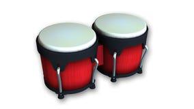 Rote Bongos, Trommeln lokalisiert auf Weiß Stockfotos