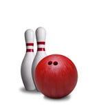 Rote Bowlingkugel und Stifte lokalisiert auf weißem Hintergrund lizenzfreie stockfotos