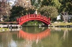 Rote Brücke im See in der Stadt stockfoto