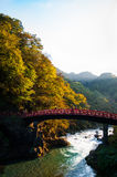 Rote Brücke, Nikko Stockbild