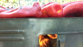 Rote BratPaprika On Barbecue With Fire stock video footage