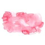 Rote bunte abstrakte Watercolouraquarell-Kunstfarbe des Handabgehobenen betrages plätschern Fleck auf weißer Hintergrund Vektoril Stockbilder