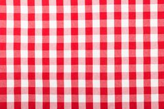 Rote checkered Tischdecke stockfotos