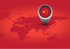 Rote China-Markierungsfahne Stockfotos