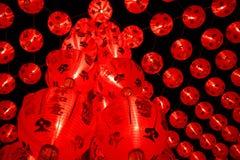 Rote chinesische Laternen verzieren in Thailand Stockfoto