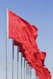 Rote chinesische Markierungsfahnen, Symbol von Kommunismus stockfotos
