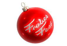 Rote christbaumkugel frohes fest Stock Image
