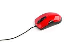 Rote Computermaus auf weißem Hintergrund Stockbild